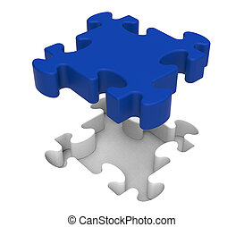 Jigsaw Piece Shows Simple Isolated Challenge - Jigsaw Piece...