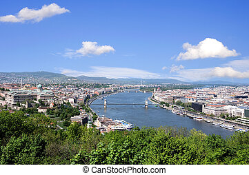 skyline of budapest and river danube in summer