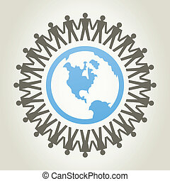 World of people - People round a planet the earth. A vector...
