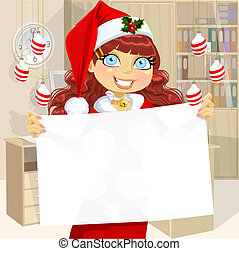 Cute girl in Santa cap hold banner - Cute business girl in...