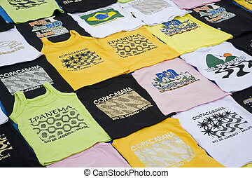 Brazil - T shirts for sale as souvenirs along the beach in...
