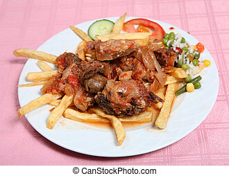 Greek taverna beef stifado - A plate of beef stifado greek...