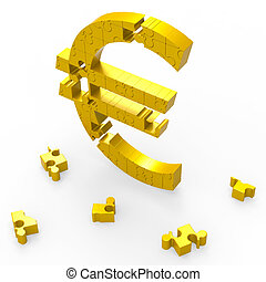 Euro Symbol Shows Currency Exchange In Europe