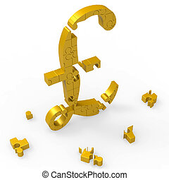 Pound Symbol Shows Wealth Currency And Banking