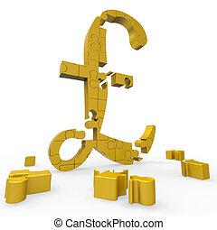 Pound Symbol Shows Money And Investments - Pound Symbol...