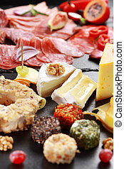 Antipasto catering platter with red wine - Antipasto...