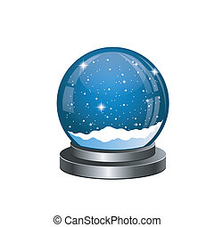 Christmas snow globe with the falling snow isolated on white...