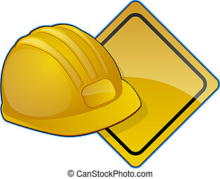 Road Construction Icon - Hard hat and diamond shaped...
