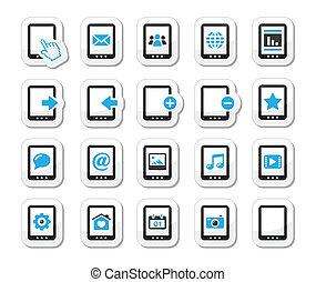 Tablet balck icons set
