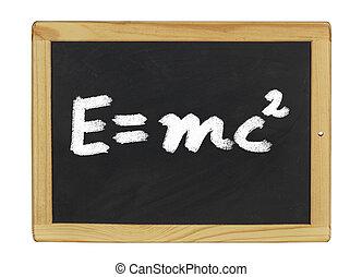 Einstein equation written on a blackboard