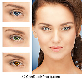 woman with different color of eyes - picture of beautiful...