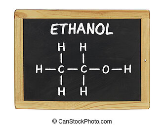 chemical formula of ethanol on a blackboard