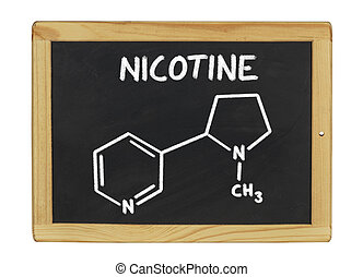 chemical formula of nicotine on a blackboard