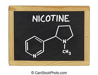 químico, fórmula, nicotina, pizarra