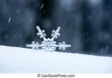 Snowflake in a white snow