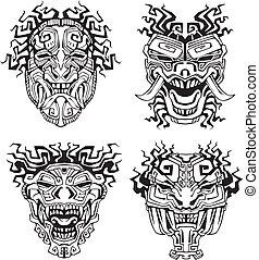 azteca, monstruo, tótem, máscaras