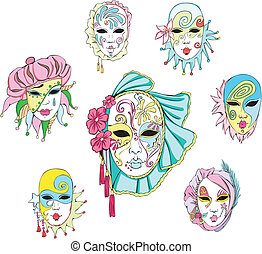 Women in Venetian carnival masks. Set of vector...