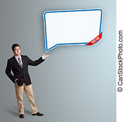 young man presenting modern speech bubble copy space -...