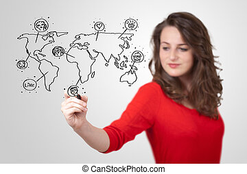 Young woman drawing a social map on whiteboard - Young woman...