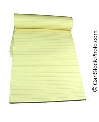 Yellow lined notebook with empty pages isolated over white background