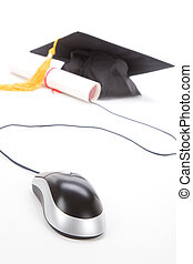 Black Mortarboard and computer mouse, online learning