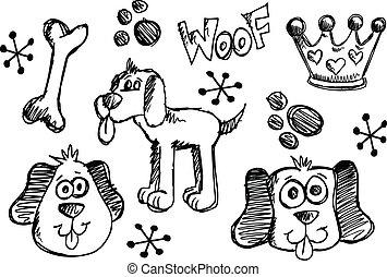 griffonnage, croquis, Chiot, chien, vecteur, ensemble