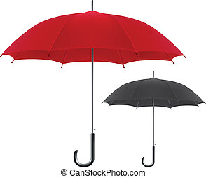 Red and black umbrellas - Vector illustration of red and...