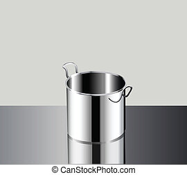 stainless steel pot in graphic vector , you and add any food...