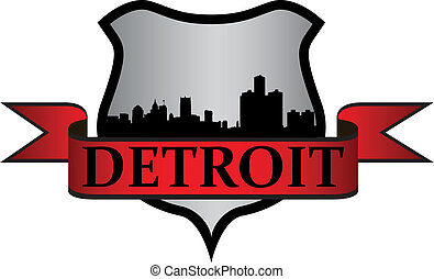 Detroit crest - City of Detroit crest with high-rise...