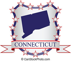 Connecticut crest with state map and stars