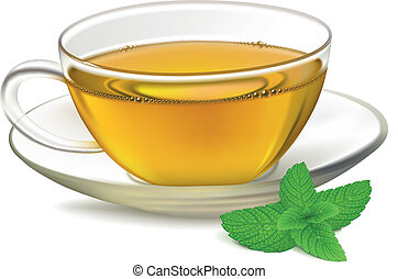 Cup of tea and mint leaf