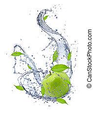 蘋果, 被隔离, 水, 綠色, 背景, 飛濺, 白色