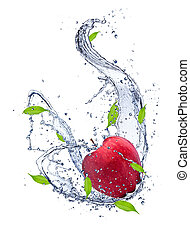 Red apple in water splash, isolated on white background