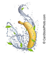 Banana in water splash, isolated on white background