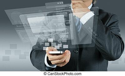 businessman shows modern technology