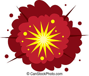 Explosion - Isolated explosion. Red and yellow.