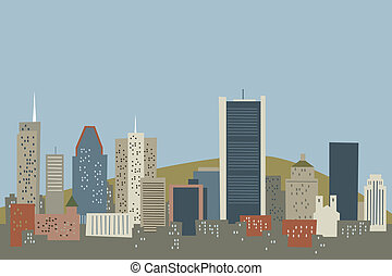 Cartoon Montreal Skyline