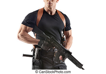 Police officer with gun - Unrecognizable powerfull police...