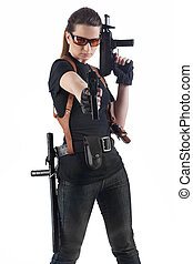 Officer woman with two guns - Aiming woman with two guns...
