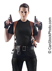 Officer woman with two guns. Isolated on white.