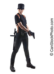 Officer woman with two guns - Officer woman with gun...