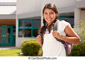 Cute Hispanic Teen Girl Student Ready for School - Cute...