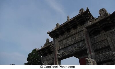 China stone arch and ancient eaves - China stone arch...