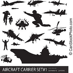 Military - Aircraft carrier high detailed silhouettes set...
