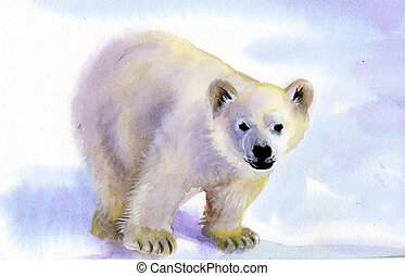 Polar bear in snow - Polar bear in the snow painted in...