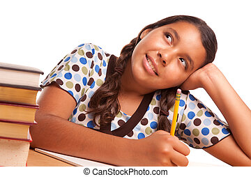 Pretty Hispanic Girl Studying and Daydreaming Isolated on a...