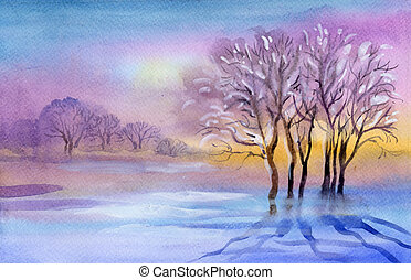 Watercolor Landscape - beautiful winter landscape with trees...