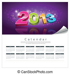 Vector Calendar 2013 new year background, illustration