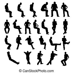 Silhouette man sitting - illustration: silhouette man...