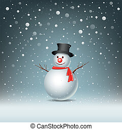 Merry Christmas Snowman Greeting card, vector illustration